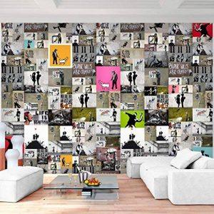 Tapisserie Photo Banksy mosaïque 352 x 250 cm Laine papier peint Salon Chambre Bureau Couloir décoration Peinture murale décor mural moderne - 100% FABRIQUÉ EN ALLEMAGNE - 9084011a de la marque Images et Papier peint Runa image 0 produit