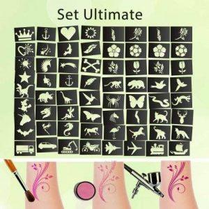 Tattoo Kit de pochoirs Ultimate (65pièces) autocollant kinders chminken Airbrush de la marque Stickerworld24 image 0 produit