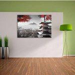 temple japonais à l'automne Noir / Blanc, Taille: 100x70 sur toile, XXL énormes Photos complètement encadrées avec civière, impression d'art sur murale avec cadre, moins cher que la peinture ou une peinture à l'huile, pas une affiche ou une bannière, de l image 2 produit