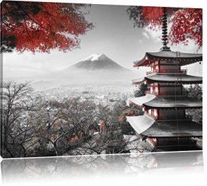 temple japonais à l'automne Noir / Blanc, Taille: 100x70 sur toile, XXL énormes Photos complètement encadrées avec civière, impression d'art sur murale avec cadre, moins cher que la peinture ou une peinture à l'huile, pas une affiche ou une bannière, de l image 0 produit