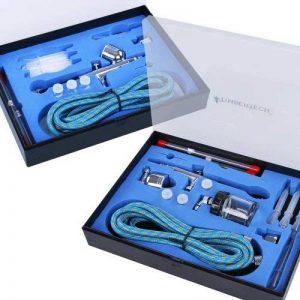 Timbertech® ABPST03 Set de 2aérographes avec 6aiguilles, 6embouts, 2adaptateurs, 2tuyaux et 2étuis de la marque Timbertech® image 0 produit