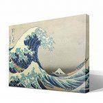 Toile sur châssis reproduction de l'œuvre La Grande Vague de Kanagawa de Katsushika Hokusai–Châssisen bois de 3 x 3cmImage haute résolutionImpression sur toile 100% coton Reproduction numérique d'œuvres d'artTableau de qualité supérieureFabriquée image 1 produit