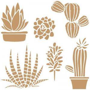 Tout Stencil Deco Floral 048Cactus, mesures: Stencil 20x 20cm–Motif 18x 18cm de la marque TODO-STENCIL image 0 produit