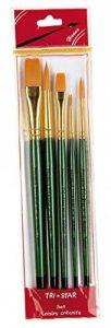 Tristar Lot de 5 Pinceaux synthétiques ronds/plats Manche Vert de la marque Tristar image 0 produit