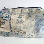 trousse toilette rétro monde couture tissu aspect lin beige bleu trousse salle bain valise voyage travaux manuels matériel loisirs créatifs de la marque Ariege Madine Couture image 1 produit