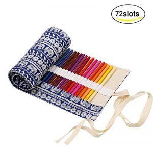 Trousses Crayons Rouleau, KAKOO Sac à Crayon enroulable Wrap en Toile Motif Rétro Pour Crayon de Couleur,72 Trous de la marque KAKOO image 0 produit