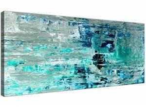 Turquoise Bleu sarcelle abstraite Peinture murale Art Impression sur toile–moderne 120cm de large–1333Wallfillers de la marque Wallfillers image 0 produit