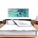 Turquoise Bleu sarcelle abstraite Peinture murale Art Impression sur toile–moderne 120cm de large–1333Wallfillers de la marque Wallfillers image 3 produit