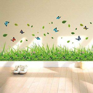 ufengke® Vert Herbe Fleurs Papillons Stickers Muraux, Salle De Séjour Chambre À Coucher Baseboard Autocollants Amovibles de la marque ufengke décor image 0 produit