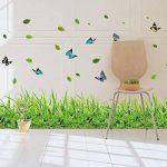 ufengke® Vert Herbe Fleurs Papillons Stickers Muraux, Salle De Séjour Chambre À Coucher Baseboard Autocollants Amovibles de la marque ufengke décor image 1 produit