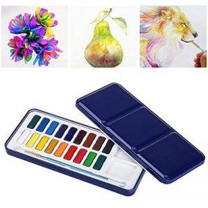 ULTNICE Peinture Aquarelle Palette Boîte en Métal étain avec Pinceau (18 couleurs) de la marque ULTNICE image 0 produit