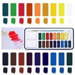 ULTNICE Peinture Aquarelle Palette Boîte en Métal étain avec Pinceau (18 couleurs) de la marque ULTNICE image 4 produit
