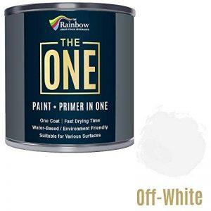 Une Peinture, un manteau, Multi Surface Peinture pour bois, métal, plastique, intérieur, extérieur, Blanc cassé, Satiné, 250ml de la marque THE ONE image 0 produit