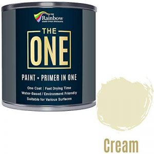 Une Peinture, un manteau, Multi Surface Peinture pour bois, métal, plastique, intérieur, extérieur, crème, Satiné, 250ml de la marque THE ONE image 0 produit