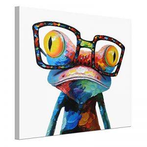 UQ Impression sur toile 1 partie Tableau Poster Grand Format 50x50 Grenouille portant les lunettes Prêt à accrocher de la marque UNIQUEBELLA image 0 produit