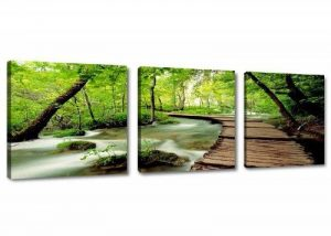 Visario 4216 Jeu de 3 tableaux sur toile de lin Motif nature 150 x 50 cm de la marque Visario image 0 produit