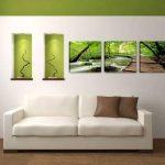 Visario 4216 Jeu de 3 tableaux sur toile de lin Motif nature 150 x 50 cm de la marque Visario image 1 produit