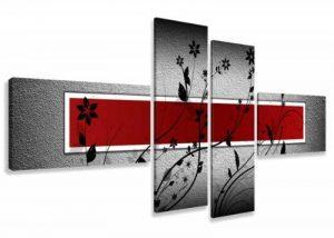 Visario 6535 Set de 4 tableaux sur toile utilisables sans cadre 160cm (Rouge) de la marque Visario image 0 produit