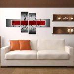 Visario 6535 Set de 4 tableaux sur toile utilisables sans cadre 160cm (Rouge) de la marque Visario image 1 produit