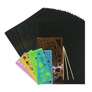 Wartoon 30 Feuilles 21 cm x 28 cm Rainbow Scratch Art Papier Papiers de Peinture Magiques Scratch Boards avec 3 Pièces Stylos en Bois Sticks 4 + 1 Règles de Dessin de la marque Wartoon image 0 produit