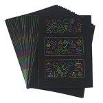 Wartoon 30 Feuilles 21 cm x 28 cm Rainbow Scratch Art Papier Papiers de Peinture Magiques Scratch Boards avec 3 Pièces Stylos en Bois Sticks 4 + 1 Règles de Dessin de la marque Wartoon image 1 produit