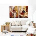 Wieco Art Peinture abstraite à l'huile sur toile Prête à accrocher pour décoration de la maison Motif diptyque représentant des danseurs de ballet de la marque Wieco Art image 6 produit