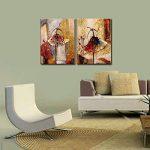 Wieco Art Peinture abstraite à l'huile sur toile Prête à accrocher pour décoration de la maison Motif diptyque représentant des danseurs de ballet de la marque Wieco Art image 5 produit