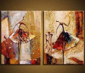 Wieco Art Peinture abstraite à l'huile sur toile Prête à accrocher pour décoration de la maison Motif diptyque représentant des danseurs de ballet de la marque Wieco Art image 0 produit