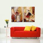 Wieco Art Peinture abstraite à l'huile sur toile Prête à accrocher pour décoration de la maison Motif diptyque représentant des danseurs de ballet de la marque Wieco Art image 3 produit