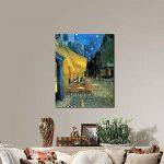 Wieco Art–Terrasse du café le soir par Vincent van Gogh Reproduction des peintures à l'huile, Impressions sur toile giclée des illustrations pour décoration murale, Tendue et encadrée Art moderne, DE TRAVAIL en toile Décoration murale pour la maison et image 3 produit