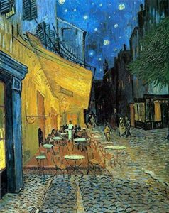 Wieco Art–Terrasse du café le soir par Vincent van Gogh Reproduction des peintures à l'huile, Impressions sur toile giclée des illustrations pour décoration murale, Tendue et encadrée Art moderne, DE TRAVAIL en toile Décoration murale pour la maison et image 0 produit